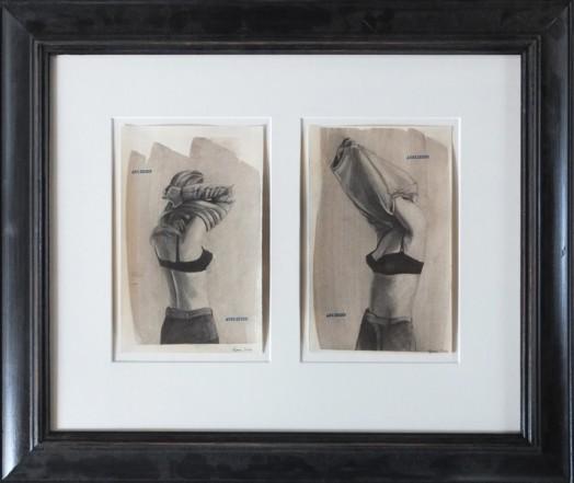 Anziehen/Ausziehen/Anziehen/Ausziehen, 2014, Pencil, Indian ink, typewriter on paper each, 23,5 x 14,8 cm
