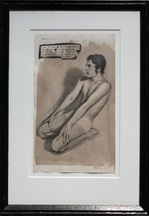 Christopher, 2014, Pencil, Indian ink, print on paper,  29,5 x 17,5 cm