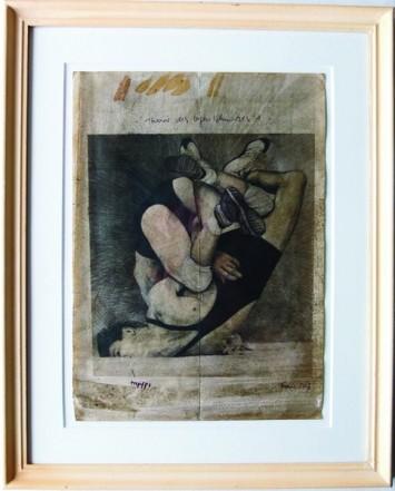 Theorie des Gegenschmerzes, 2013, Pencil, Indian Ink, gouache, ball pen, PU lacquer on paper, 29,5 x 21 cm