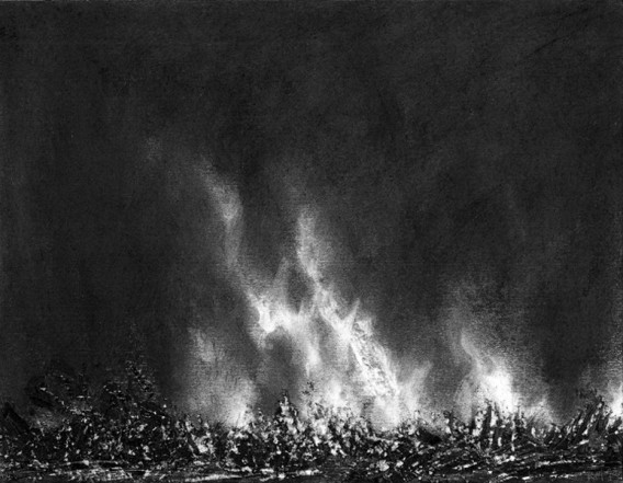 Burning XVIII, 2013, charcoal, pastel on museumboard, 21 x 27 cm