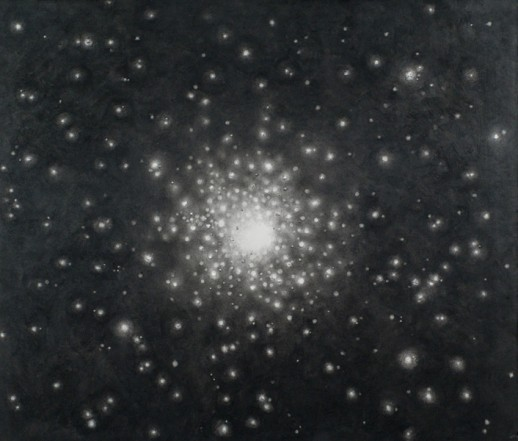 Colliding galaxies II, 2013, charcoal, pastel on museumboard, 92 x 108 cm