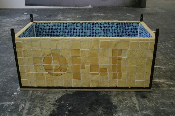 Badewanne,  2011, PU foam, glas mosaic, flagging, water,  74,5 x 155,5 x 78 cm