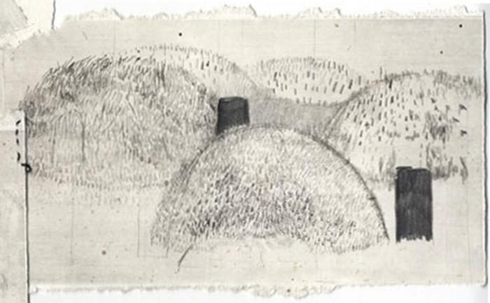 Gräber, 2007 Bleistift, Tusche auf Papier