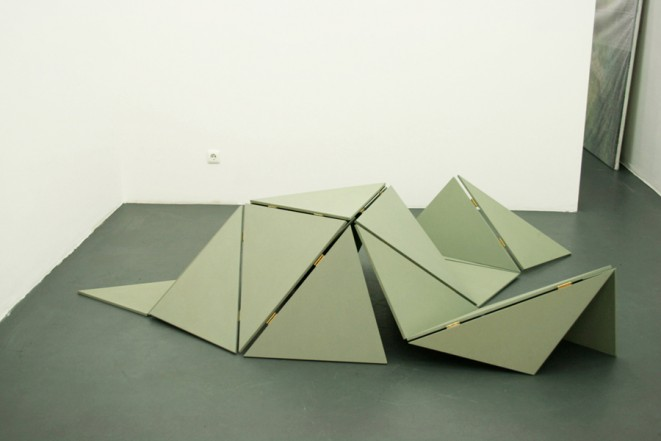Otherland, 2008, MDF, acrylic, hinges, 65 x 190 x 150 cm (variable)