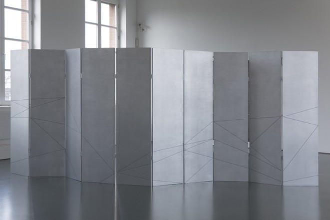 Flatland, 2011, wood, aluminum pigment, acrylic, hinges, 190 x 440 x 55 cm (variable)