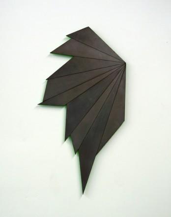 Fragment IV, 2013, wood, neon lacquer, graphite, 34 x 65 x 2 cm