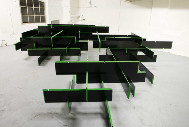 The Space in Between, 2010, wood, lacquer, pigment, 106 x 540 x 440 cm