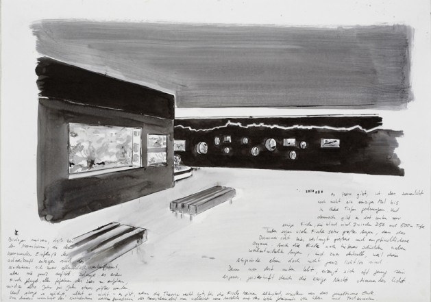 Aquarium, 2008, Indian Ink on paper, 40 x 60 cm