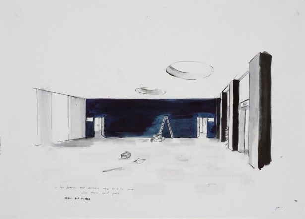 Aufbau, 2008, Indian Ink on paper, 40 x  60 cm