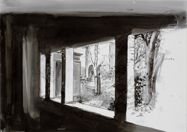 Eule oder Lerche, 2008, Indian Ink on paper, 40 x 60 cm