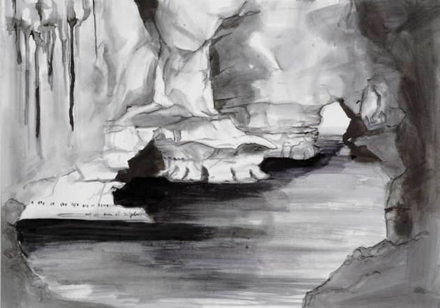 Höhle, 2008, Indian Ink on paper, 40 x 60 cm