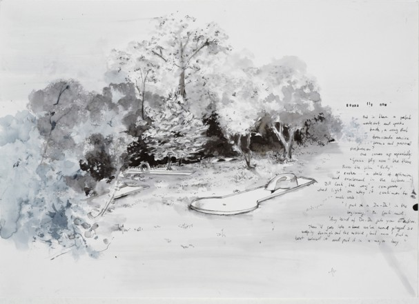 Minigolf, 2008, Indian Ink on paper, 40 x 60 cm