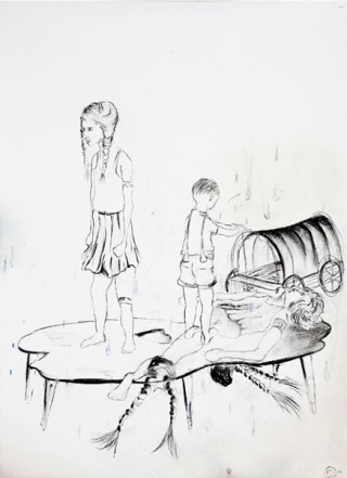 Brigade Hänsel und Gretel, 2010, Charcoal, pencil on paper, 75 x 55 cm