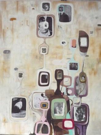 Schlaf, 2010, Öl Collage auf Leinwand, 260 x 200 cm