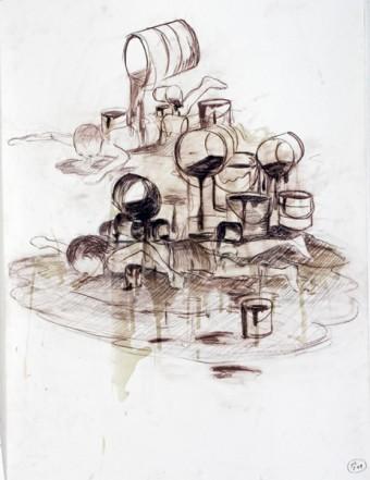 Schwimmer, ca. 65 x 50 cm, Farbstift und Lack auf Papier, 2009