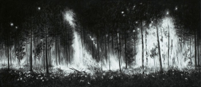 Burning XI, 2012, charcoal, pastel on paper, 107 x 245 cm