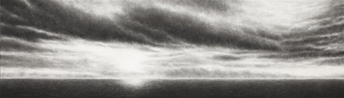 Cloudburst IV, 2012, charcoal, pastel on museumboard, 76 x 264 cm
