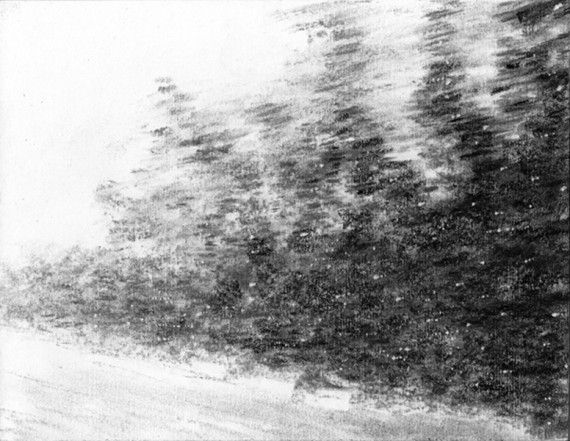Moving Landscape XVIII, 2012, charcoal, pastel on museumboard, 21 x 27 cm
