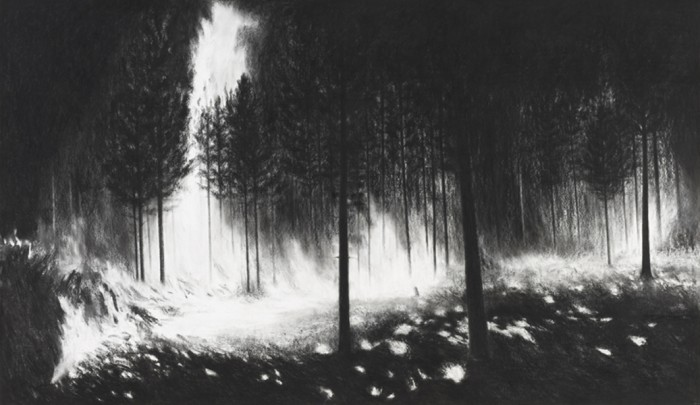 Burning IX, 2011, charcoal, pastel on museumboard, 153 x 264 cm