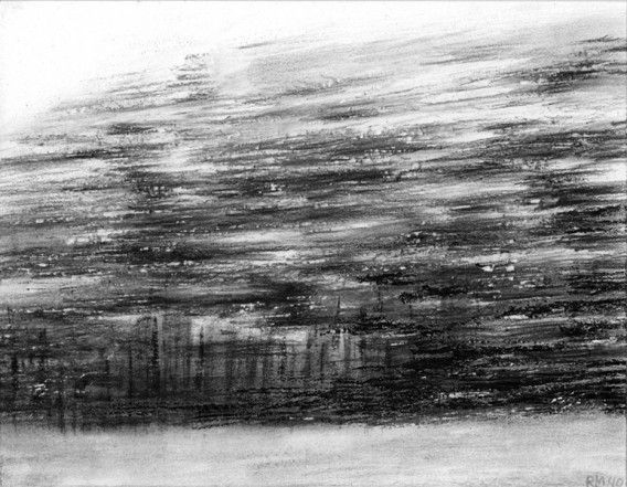 Moving Landscape VI, 2010, charcoal, pastel on museumboard, 21 x 27 cm