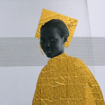 Aminata, 2013, Collage on paper, 20 x 20 cm