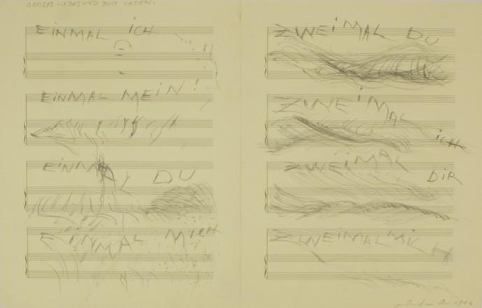 Grosses Liebeslied zum Lesen, 1986, Pencil on paper, 34 x 54 cm