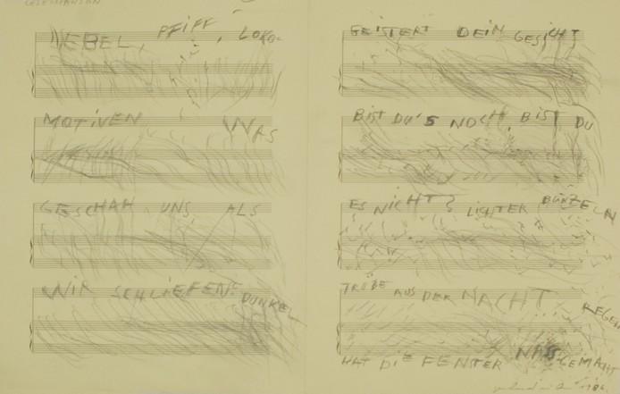 Lesechanson, 1986, Pencil on paper, 34 x 54 cm