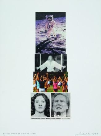 Auf`m Mond da gibt`s ka Sünd´!, 1998, Collage auf Karton, 40 x 30 cm