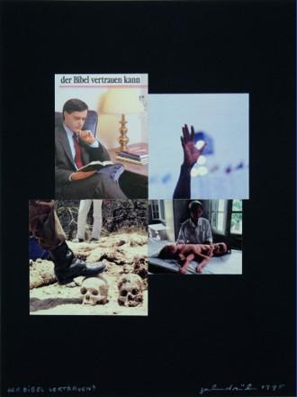 Der Bibel vertrauen?, 1995, Collage auf Karton, 40 x 30 cm